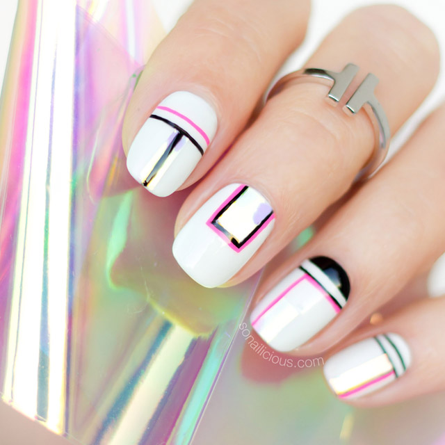 Geometric nail design, SoNailicious - SoNailicious