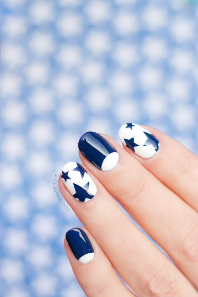 12 freehand nail art ideas you can actually do tutorials provided 3 star nails prinsesfo Images