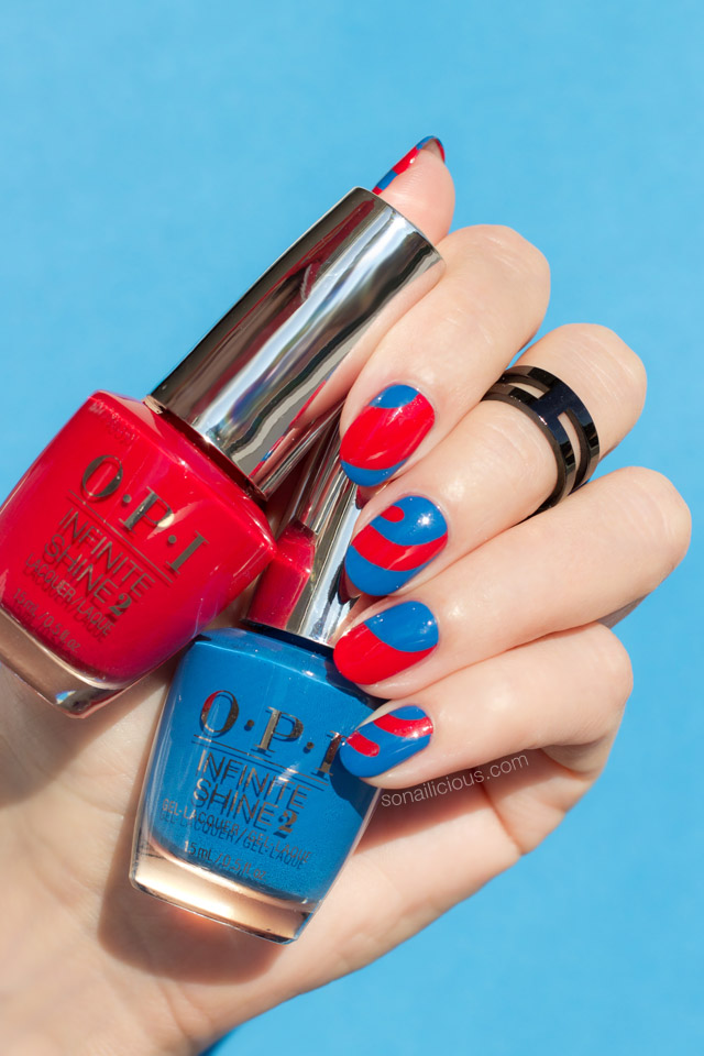 blue and red nail design, OPI Infinite Shine nail polish - SoNailicious