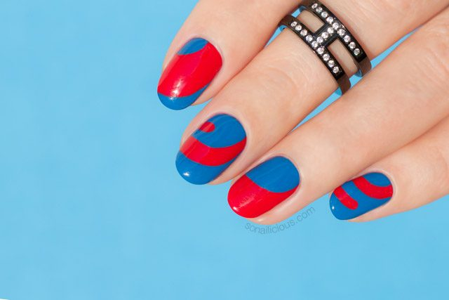 Blue And Red Nails Abstract Nail Art 10 Sonailicious