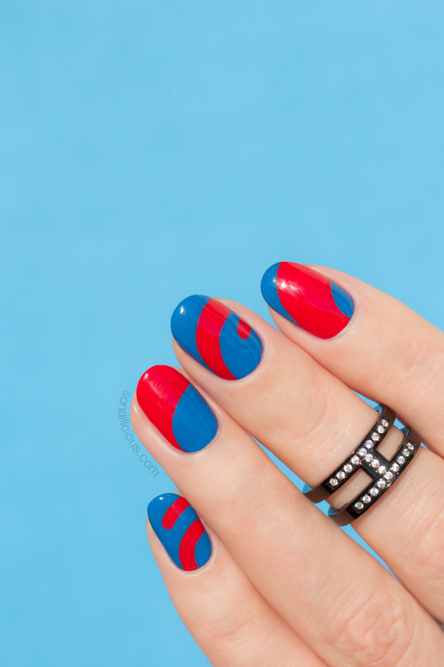 blue and red nails, abstract nail art