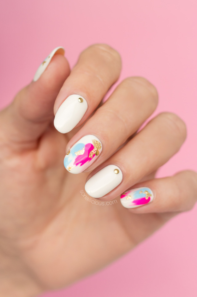 japanese nail art, cool foil nails