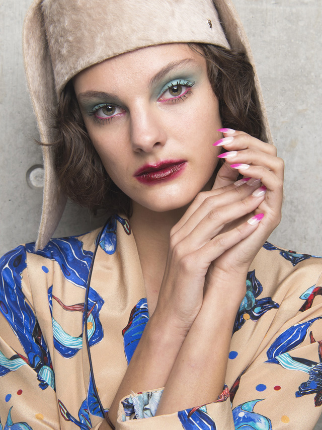 romance was born summer 2018, blue eyeshadow eye makeup, ombre tip nails