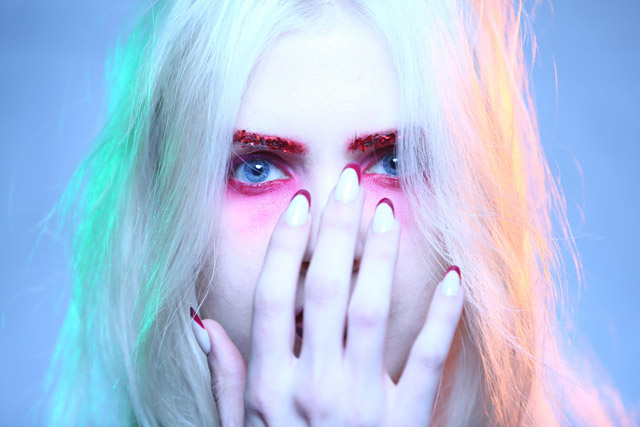 romance was born summer 2018, red eyeshadow eye makeup, french tip nails