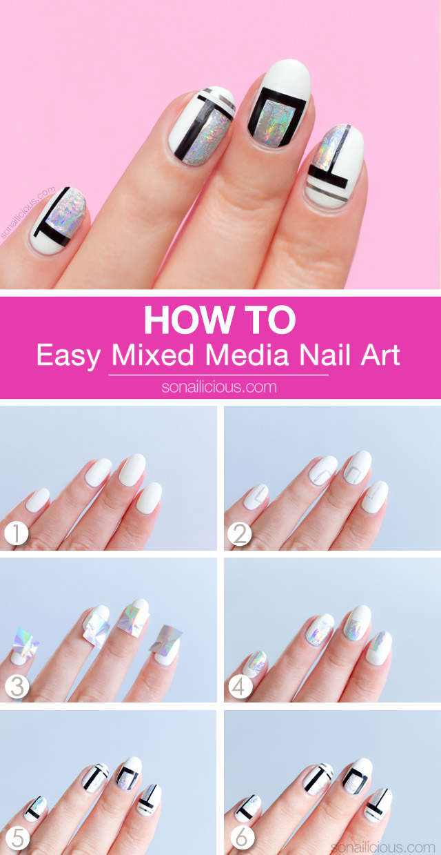 Simple but Cool Mixed Media Nail Art [TUTORIAL]