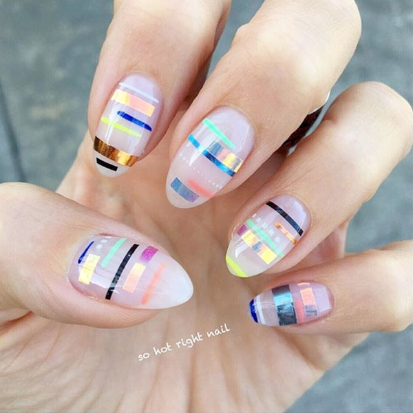 Abstract Summer nail design, Striping Tape Nails, sohotrightnail