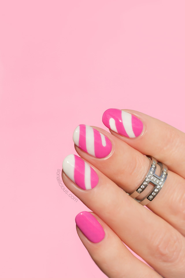 Candy nails, pink and white nails