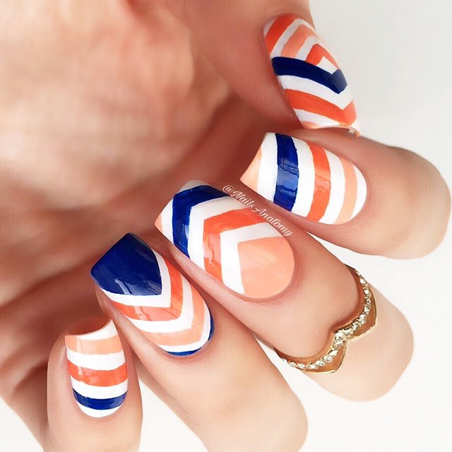 Chevron nails by @NailsAnatomy, inspired by MBFWA streetstyle