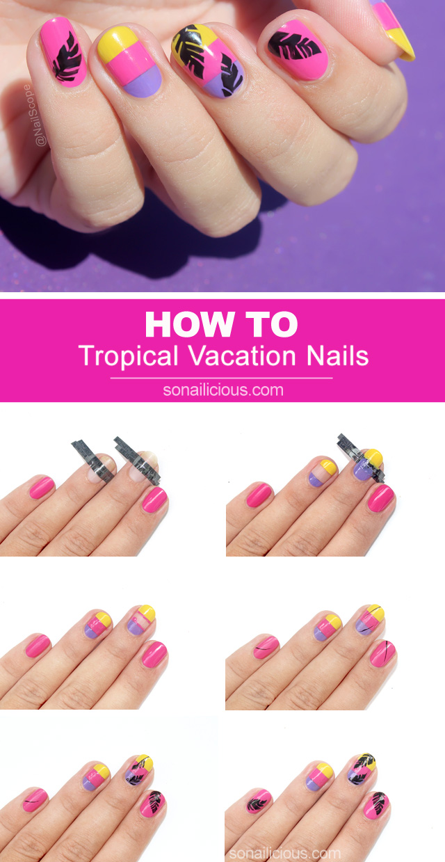 beach nails how to, tropical vacation nails