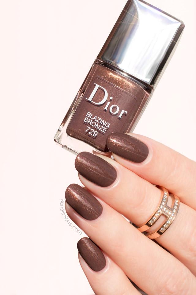 dior blazing bronze swatch, brown nail polish