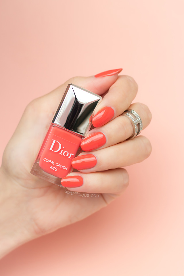 dior coral crush swatches, coral polish