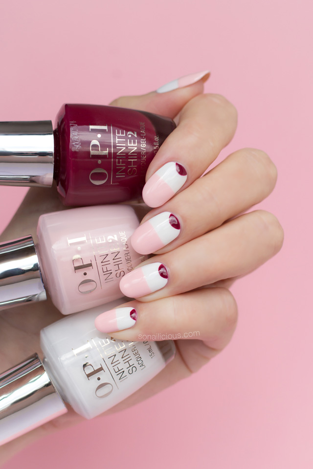 pink and white nails, minimalist nails