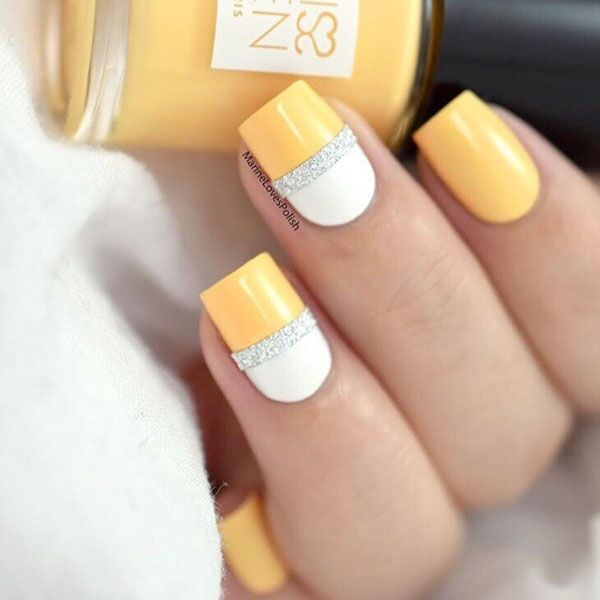 yellow nails, summer nails with silver tape by @marinelp91