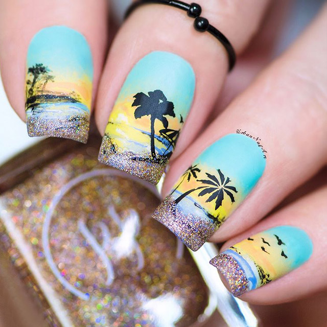 Beach Sunset nails by @urbannailart
