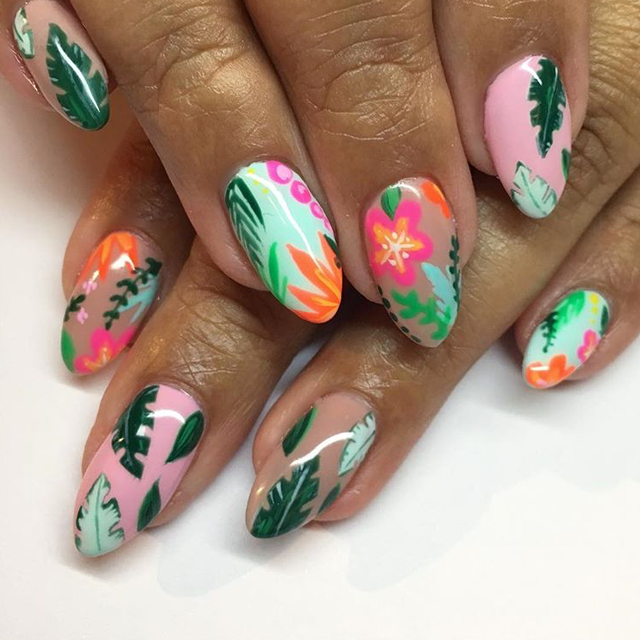 Tropical nail art by @superflynails - 12 Beach Nail Designs To Try This Weekend