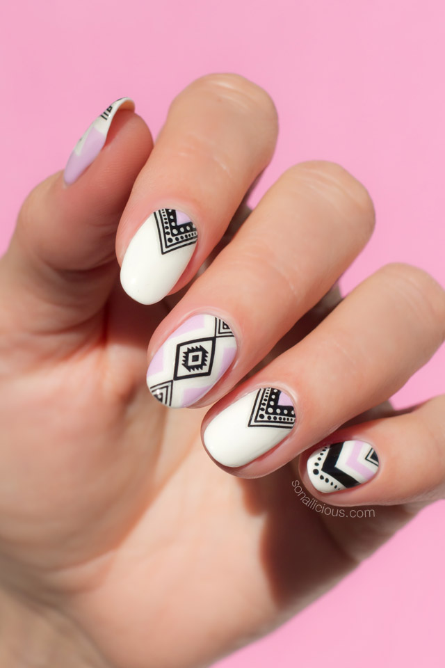 aztec nail art, summer nails ... - How To Do Aztec Nails In 5 Minutes [Seriously Easy Nail Art]