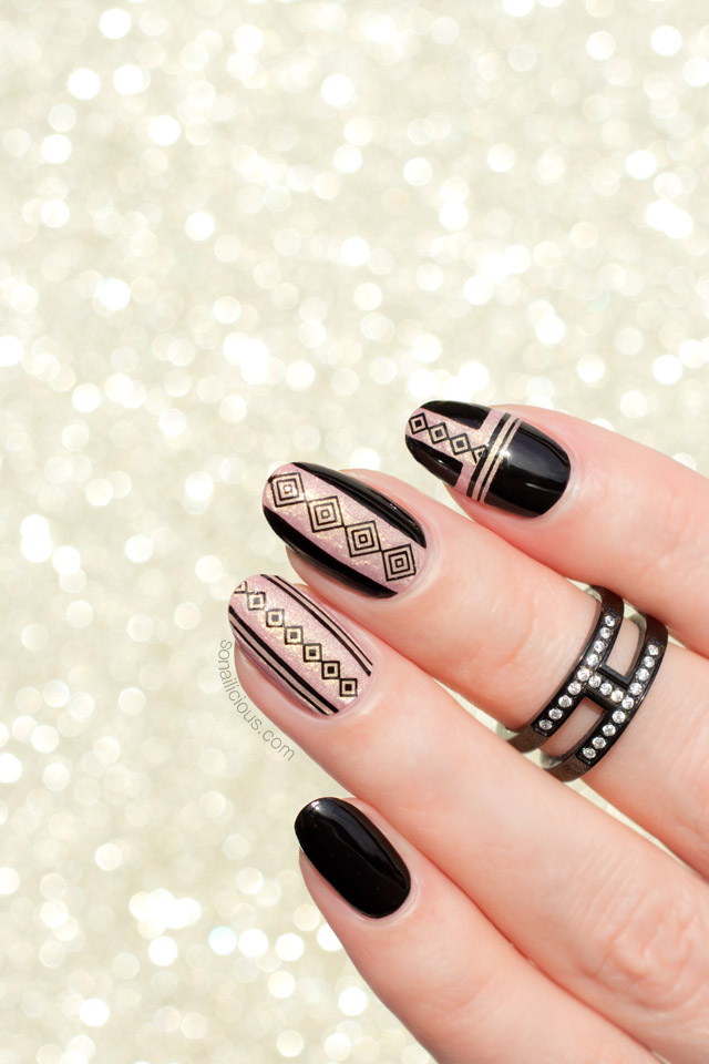 black and gold nail design, nail stickers