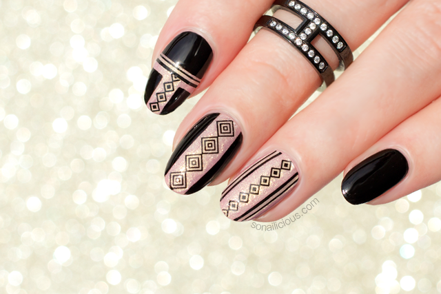 black and gold nails, nail stickers