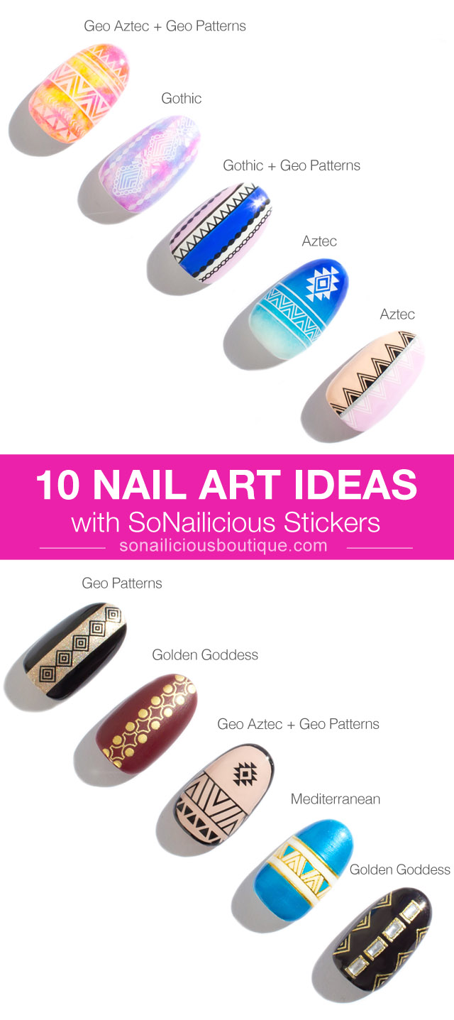 nail art ideas with sonailicious nail stickers