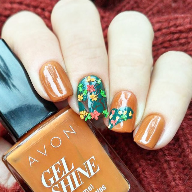 Fall Forest 3D nail art by @mary_niknails