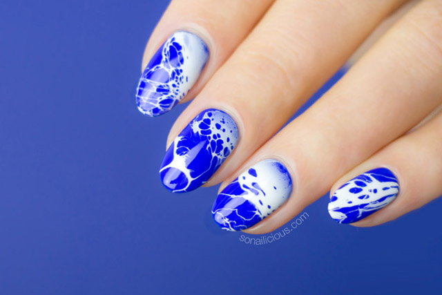 bright blue nail polish, license to chill