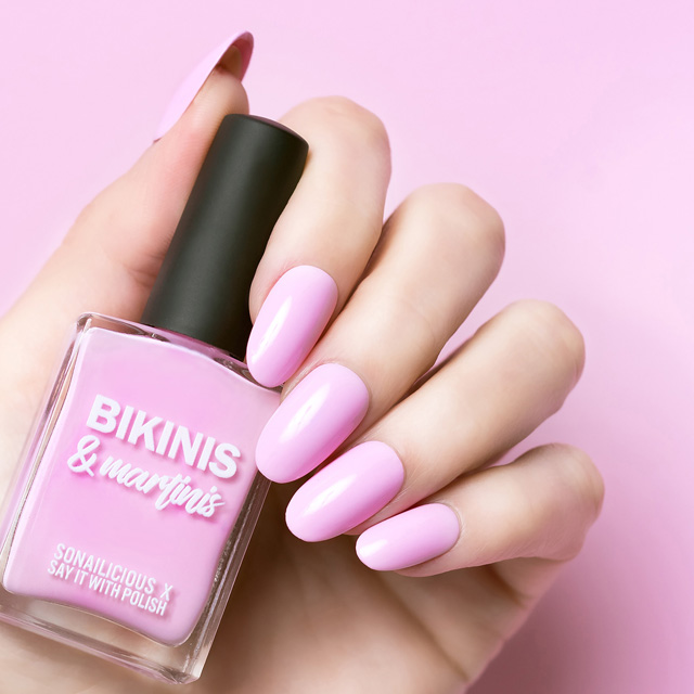 candy pink nail polish, bikinis and martinis, 1