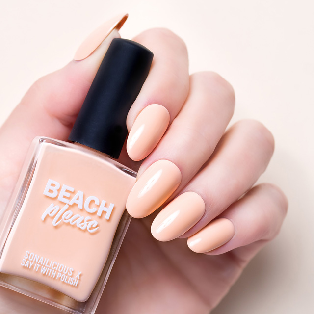 peach nail polish, beach please