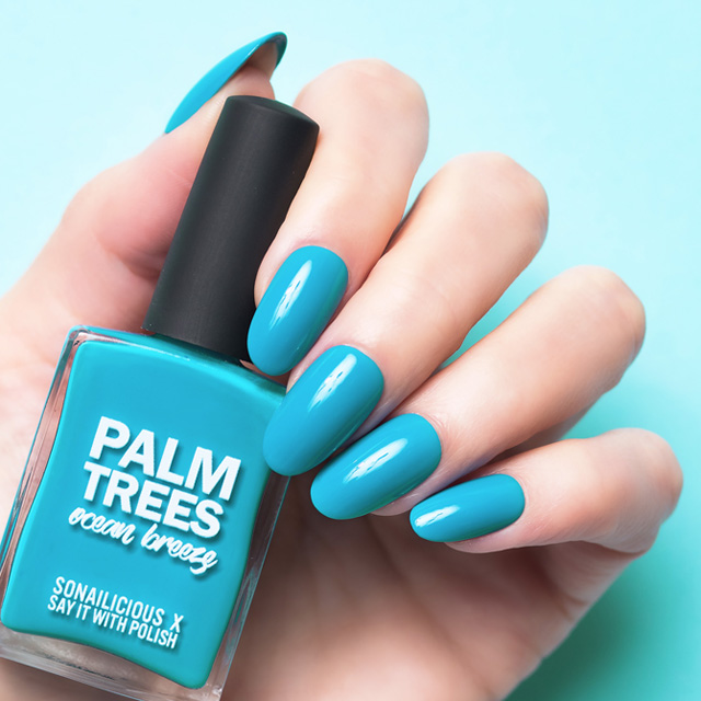 teal nail polish, palm trees ocean breeze