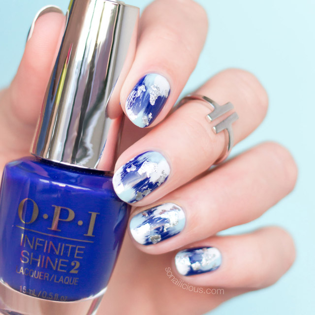 blue and silver nails