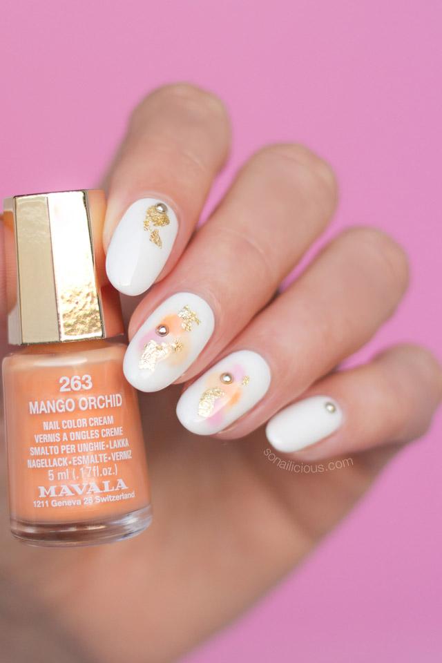delicate nail art, mavala mango orchid