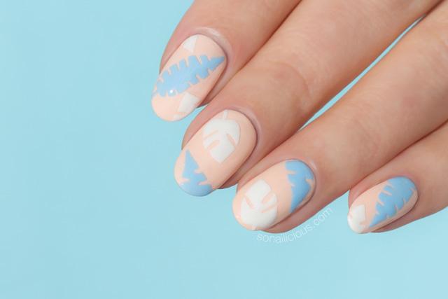 peach nails, palm leaf nails
