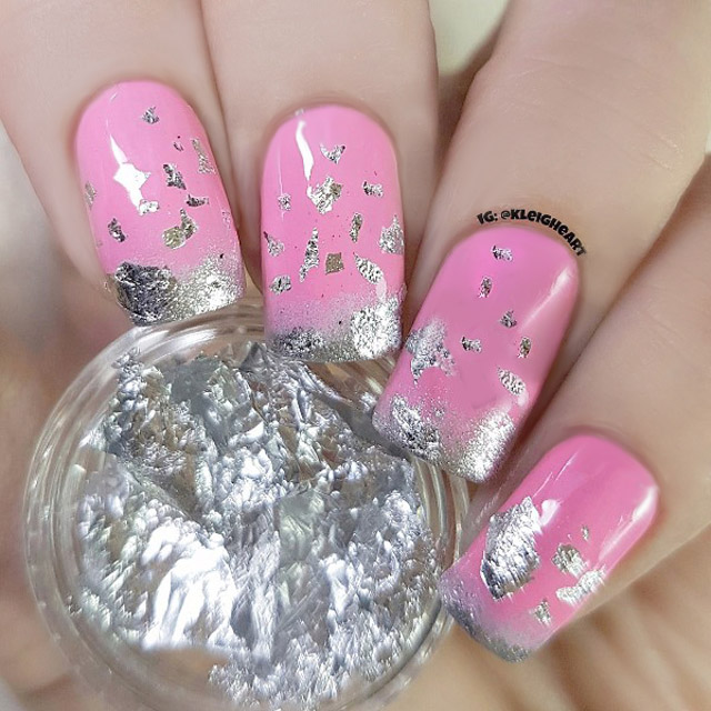 Pink And Silber Nails Silver Nail Foil
