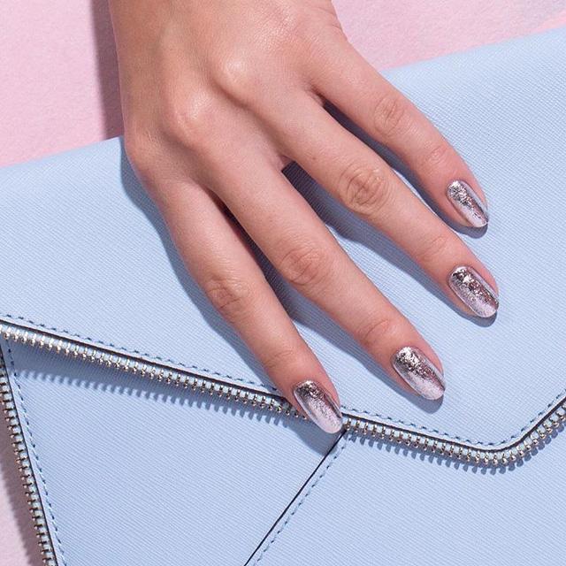 rose gold nails, rose gold foil
