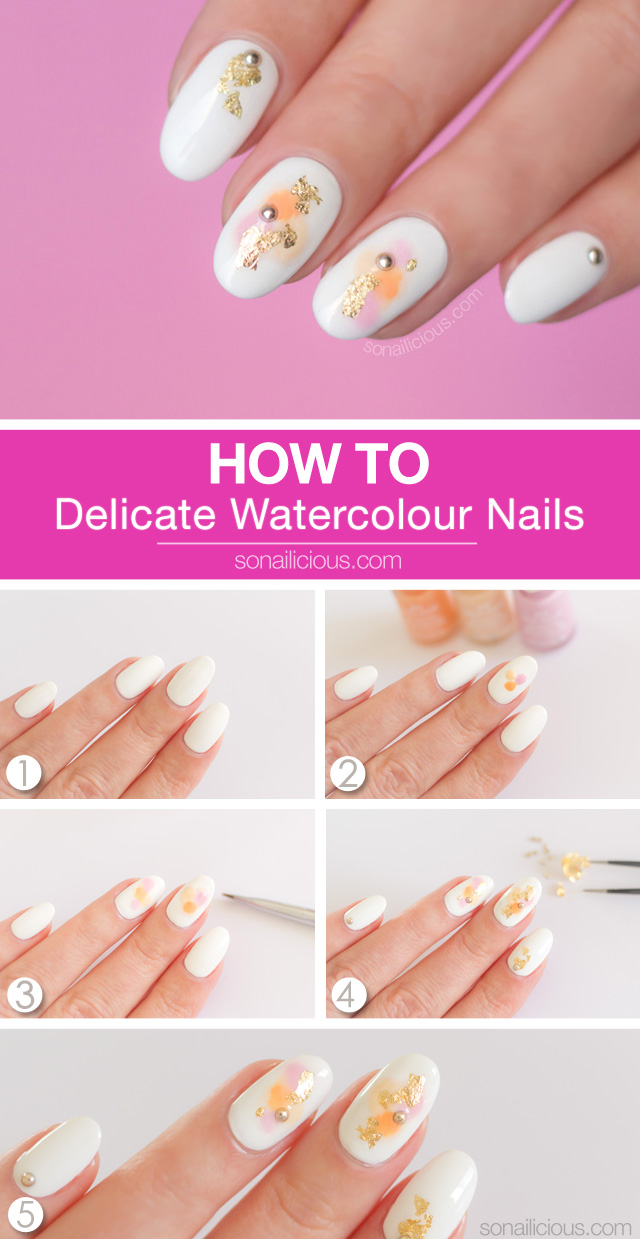 watercolor nails how to