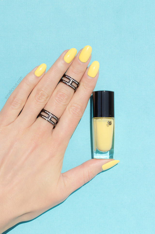 Yellow Nails with Ocean Waves. Plus, Lancome Nail Polish Review