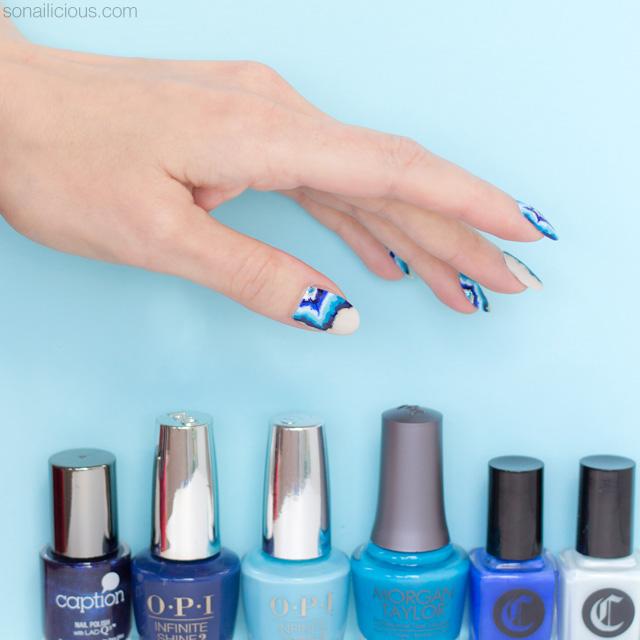 blue geode nails