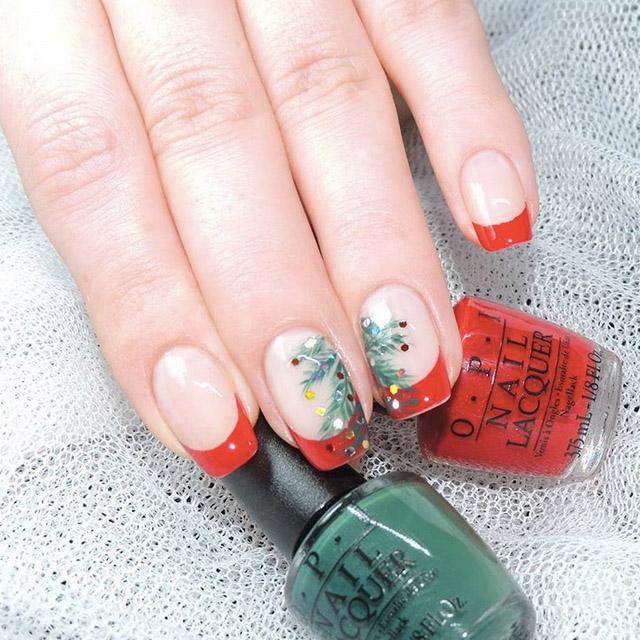 Festive French nails by @totallynailed