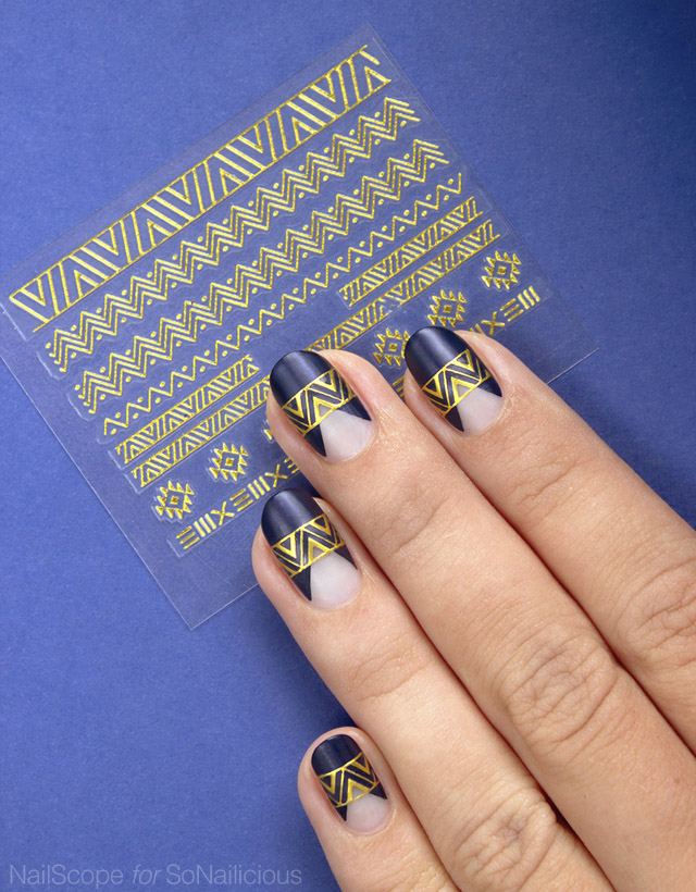 dark blue and gold nails, party nails - SoNailicious