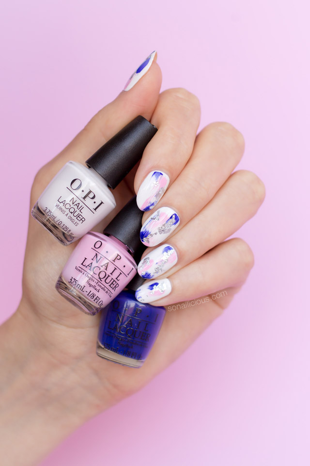pink and blue abstract nails, OPI love xoxo iconic colours set, 1