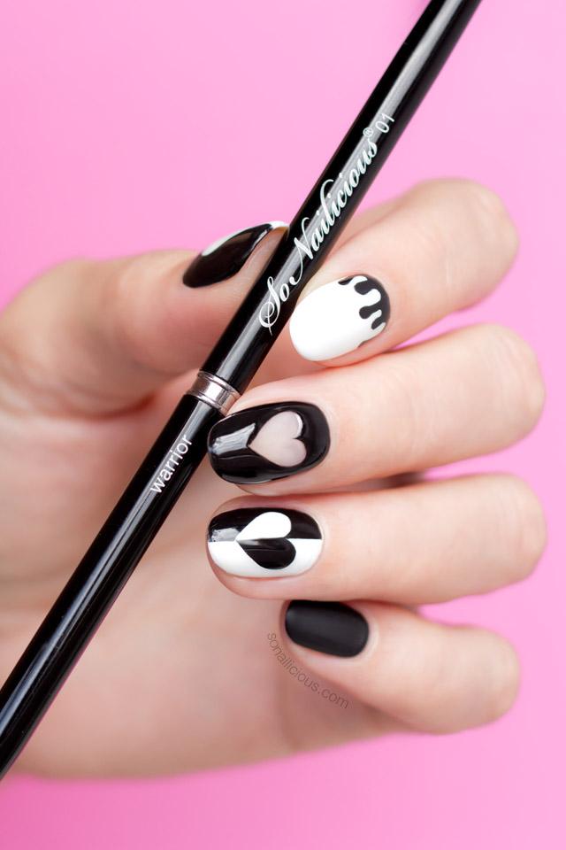 black valentines day nails, sonailicious nail art brush