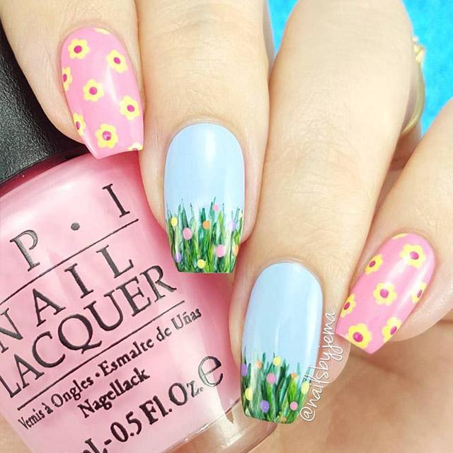 Floral Easter nail design by @nailsbyjema