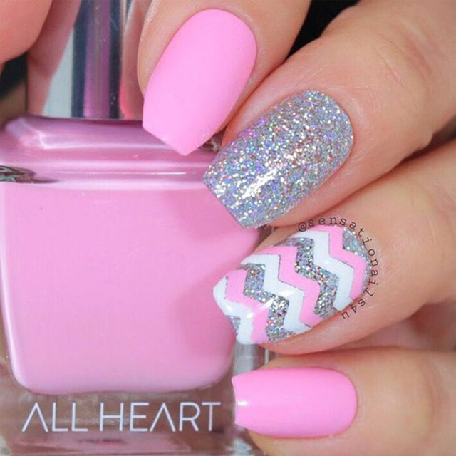 Pink Easter nails by @sensationalnails4u