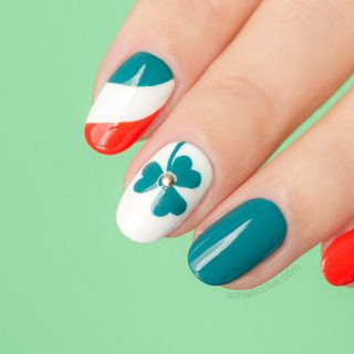 St Patrick's Day shamrock nails how to