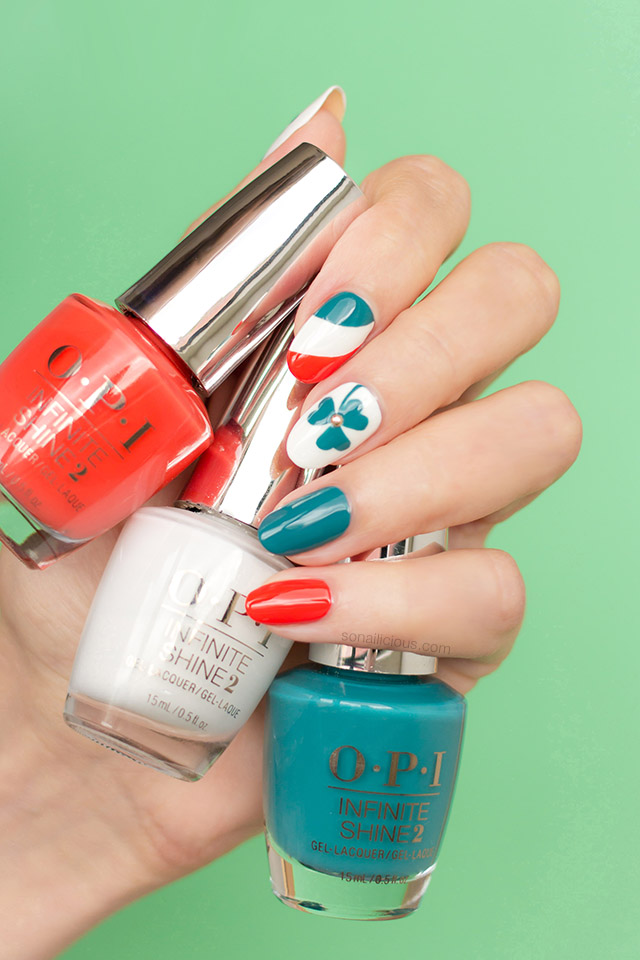 St Patrick's nails with OPI nail polish