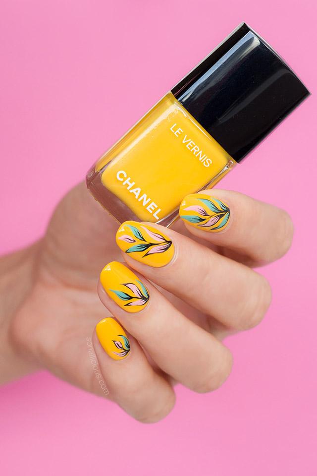 Yellow nail design with Chanel nail polish - SoNailicious