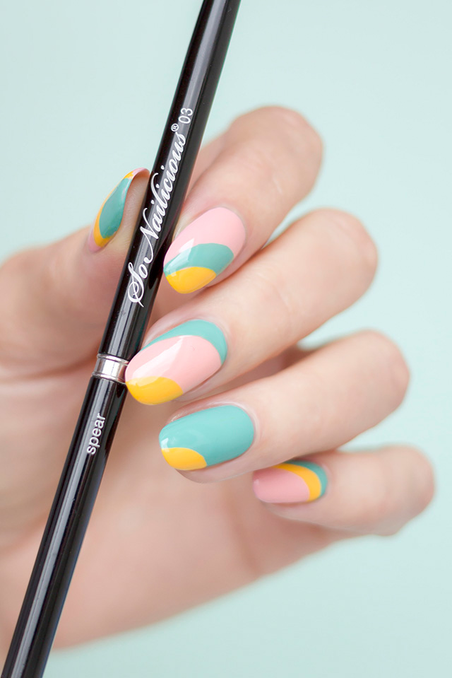 beautiful nail design, striping nail art brush