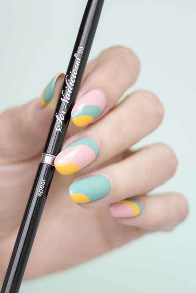 beautiful nail design, striping nail art brush - SoNailicious