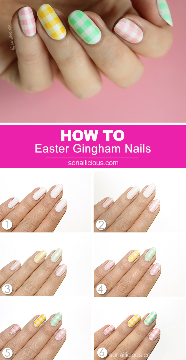 Drawing Lines On Nails : Easter gingham pastel nails how to