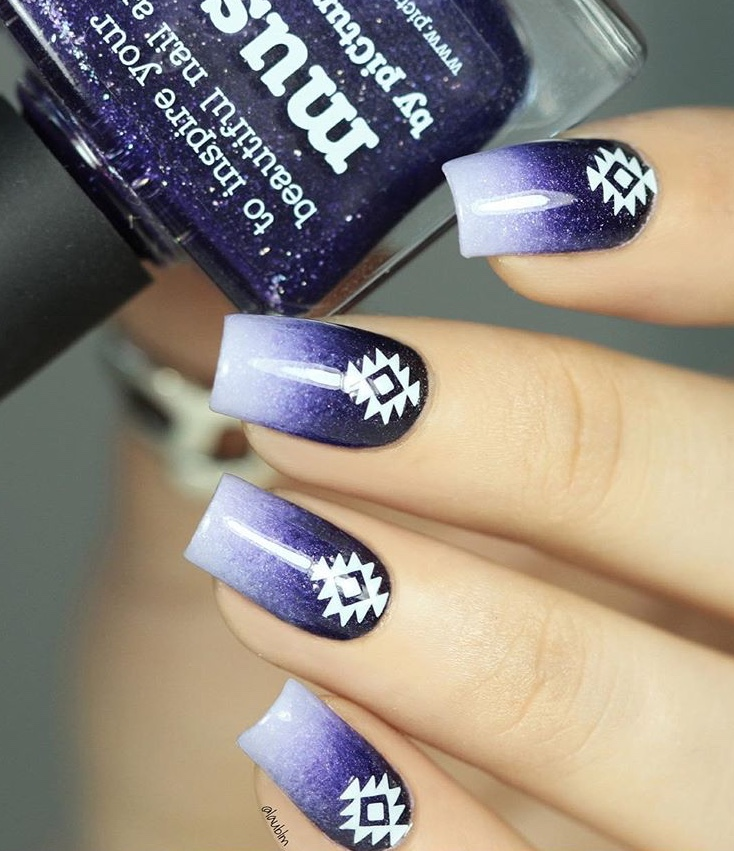 Purple nails with Geo Aztec stickers