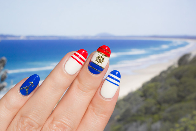 beach nails with sonailicious stickers